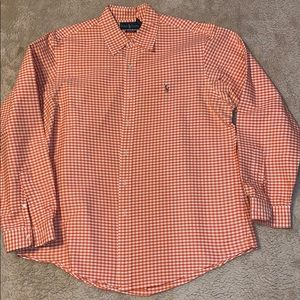 Ralph Lauren Custom Fit Orange Gingham Size XL